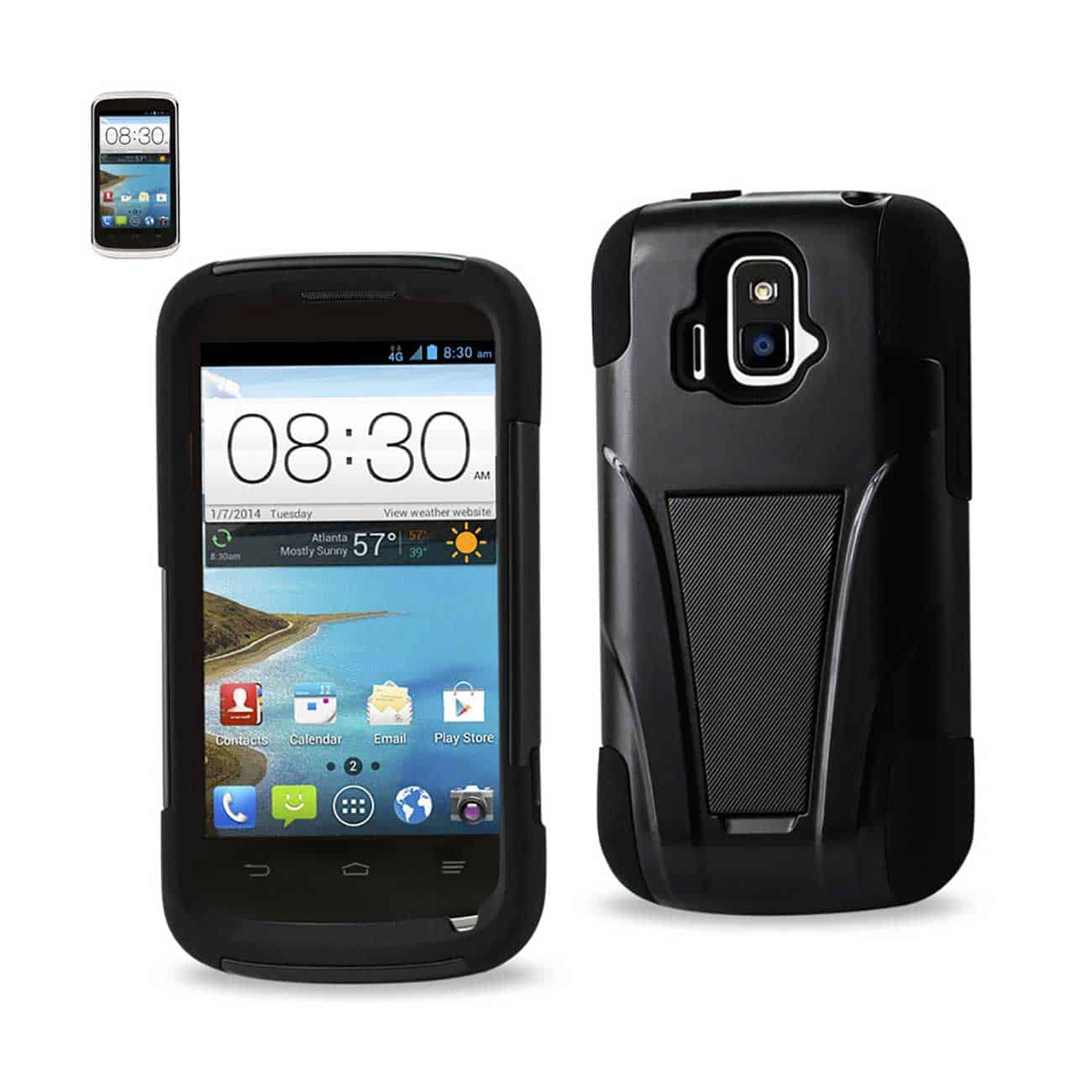 ZTE SONATA 4G HYBRID HEAVY DUTY CASE WITH KICKSTAND IN BLACK