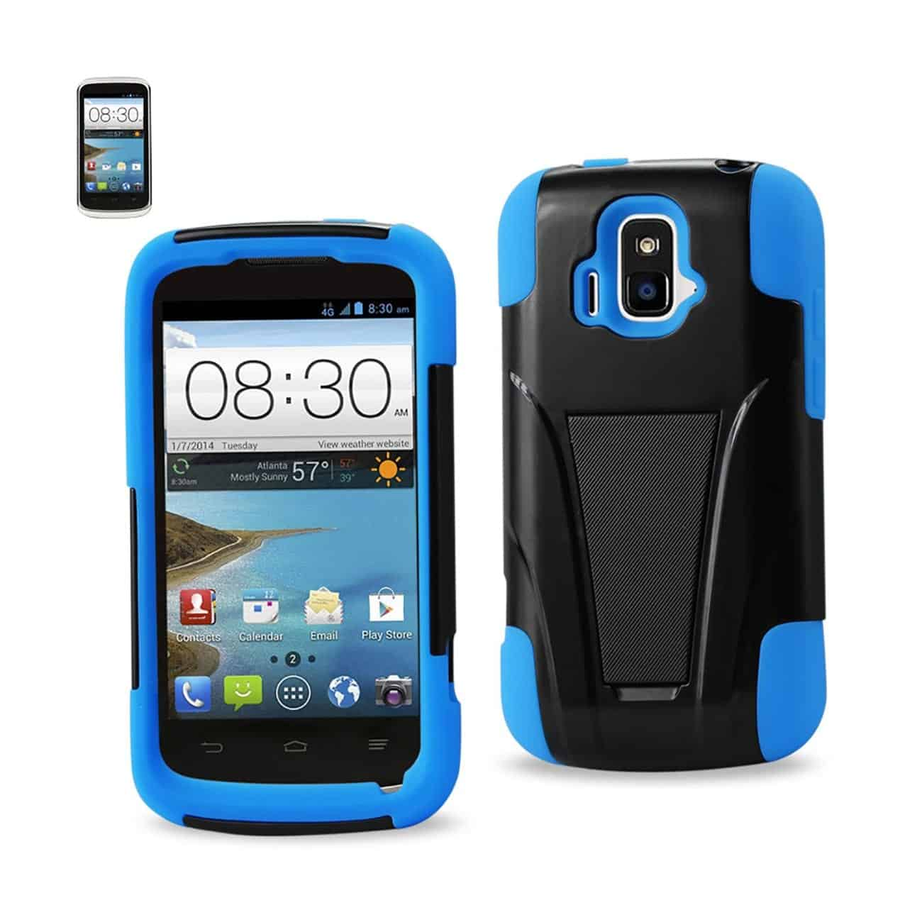 ZTE SONATA 4G HYBRID HEAVY DUTY CASE WITH KICKSTAND IN NAVY BLACK