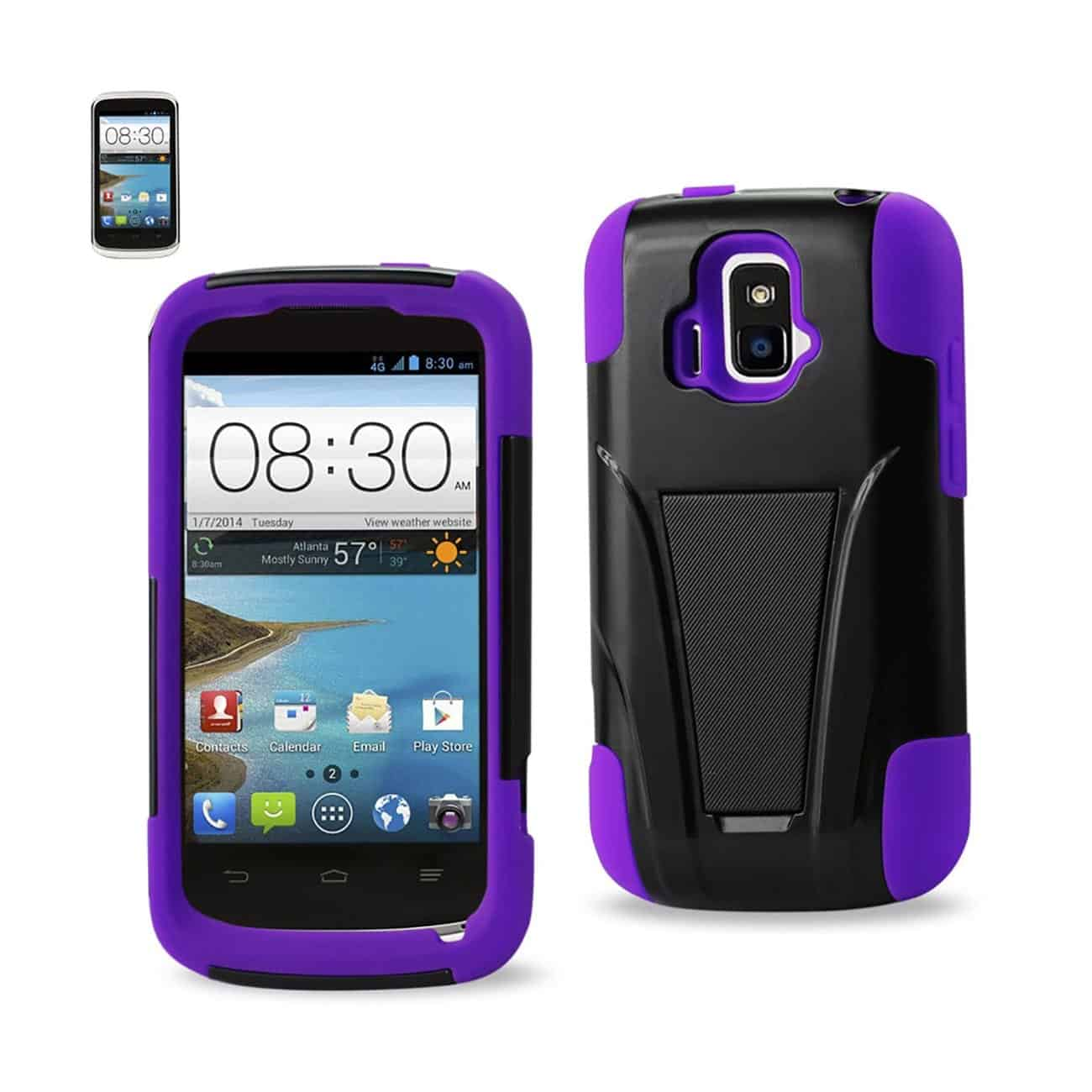 ZTE SONATA 4G HYBRID HEAVY DUTY CASE WITH KICKSTAND IN PURPLE BLACK