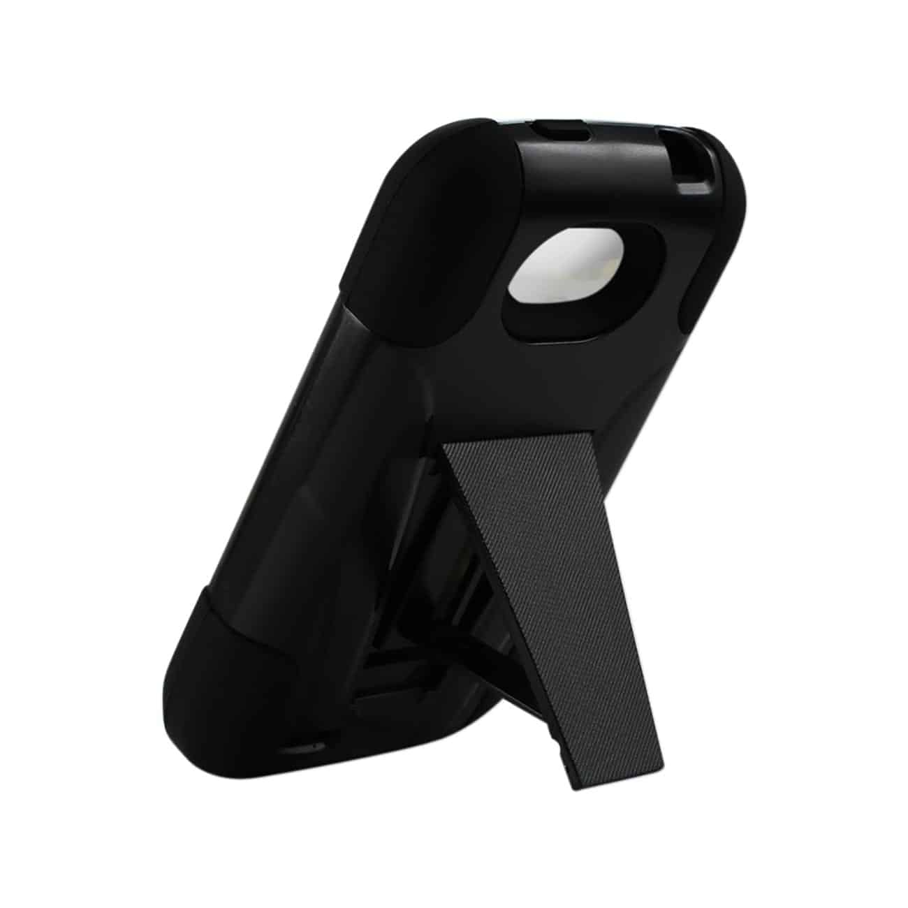 ZTE SAVVY HYBRID HEAVY DUTY CASE WITH KICKSTAND IN BLACK
