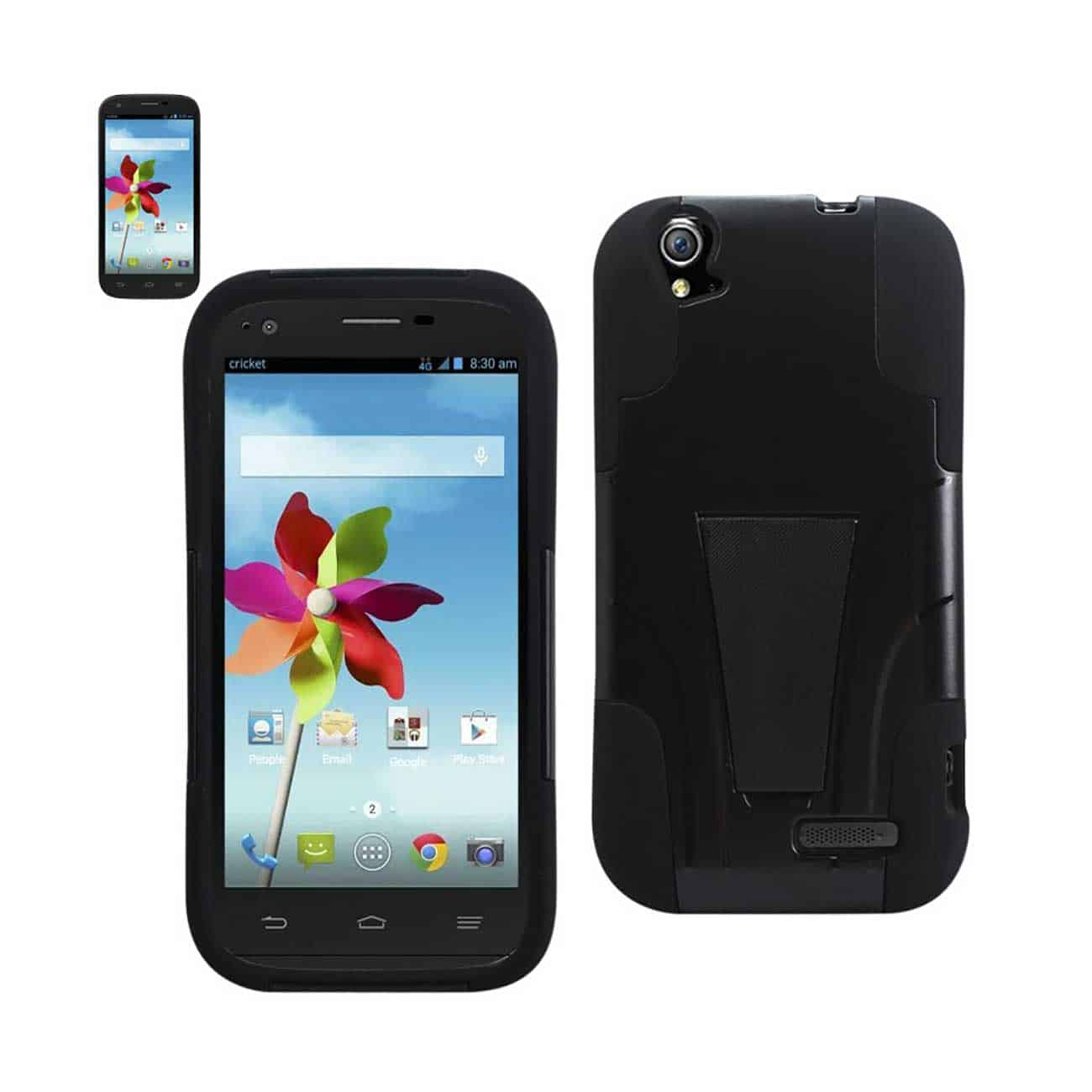ZTE GRAND X HYBRID HEAVY DUTY CASE WITH KICKSTAND IN BLACK
