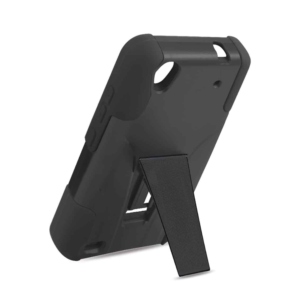 ZTE QUARTZ HYBRID HEAVY DUTY CASE WITH KICKSTAND IN BLACK