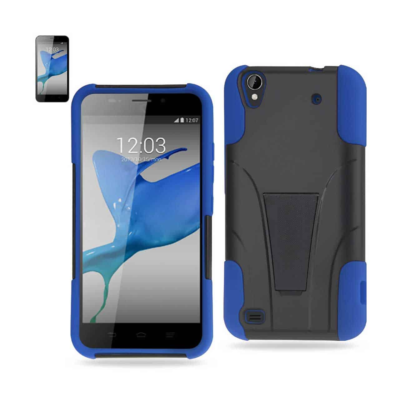 ZTE QUARTZ HYBRID HEAVY DUTY CASE WITH KICKSTAND IN NAVY BLACK