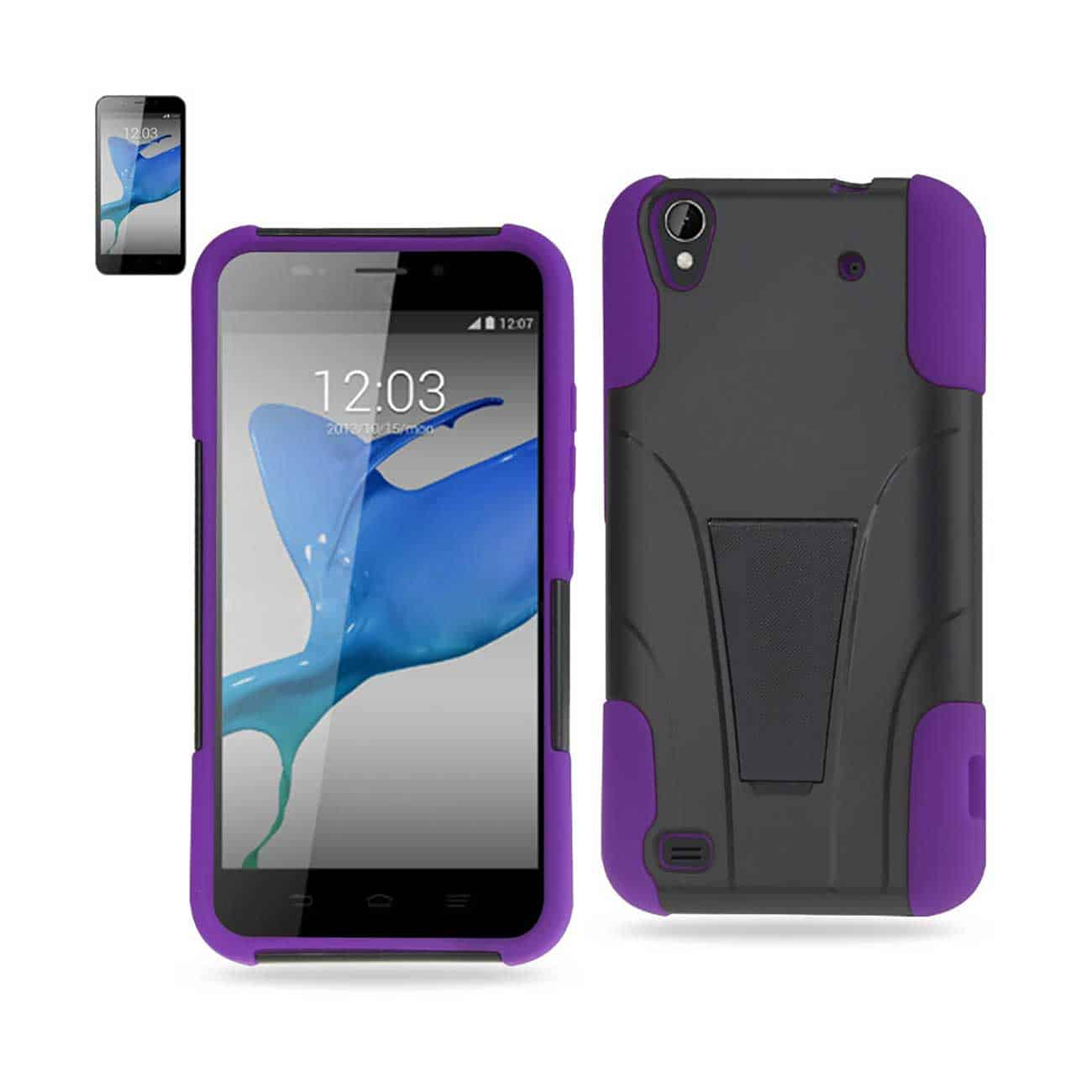 ZTE QUARTZ HYBRID HEAVY DUTY CASE WITH KICKSTAND IN PURPLE BLACK