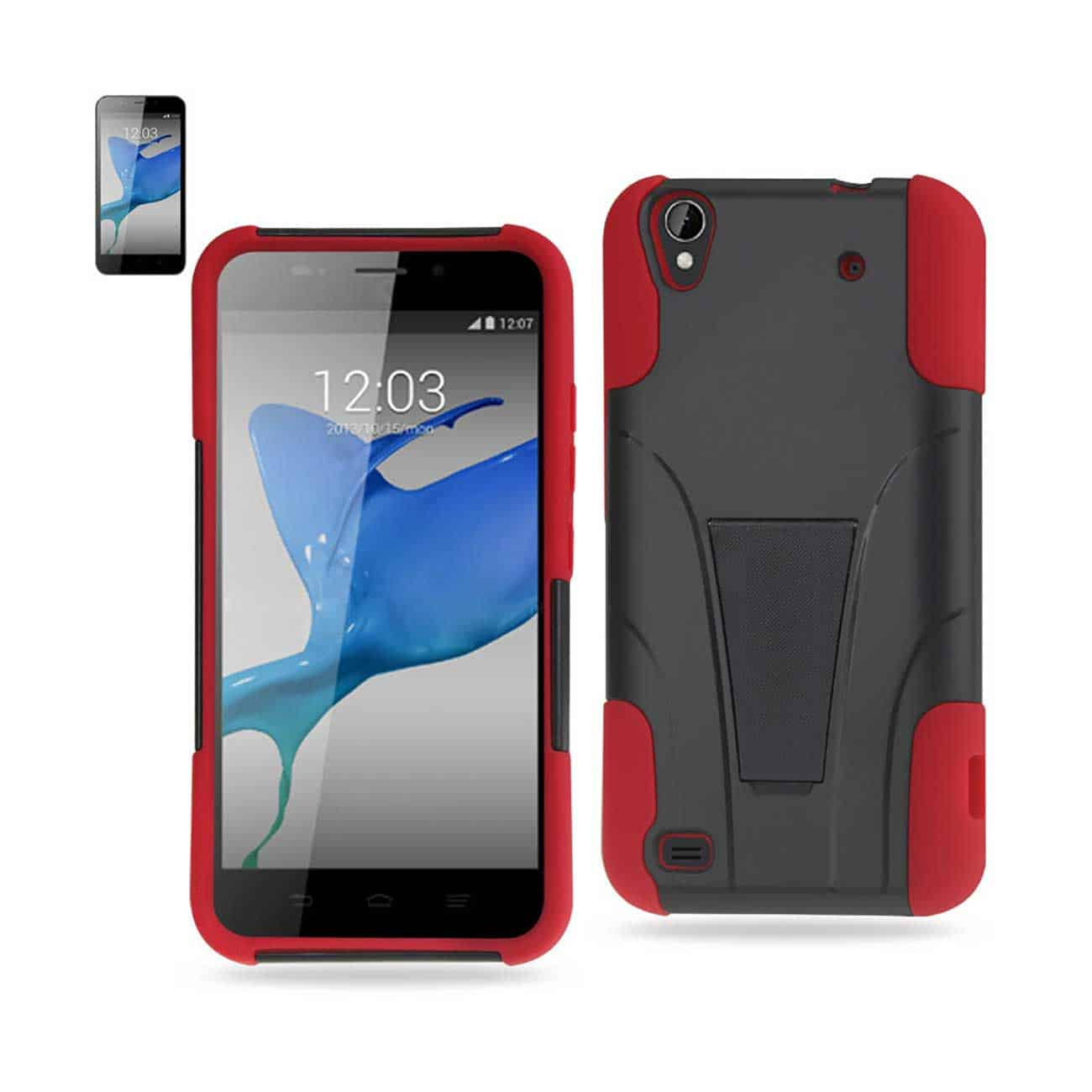ZTE QUARTZ HYBRID HEAVY DUTY CASE WITH KICKSTAND IN RED BLACK