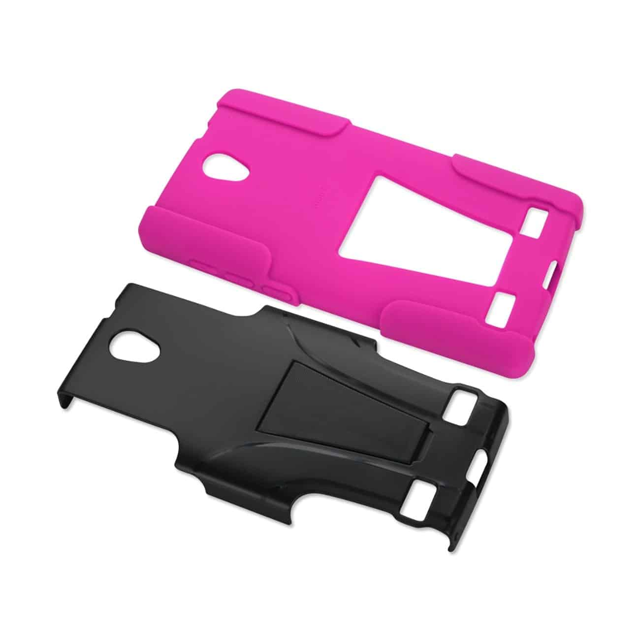 ZTE ZMAX 2 HYBRID HEAVY DUTY CASE WITH KICKSTAND IN HOT PINK BLACK