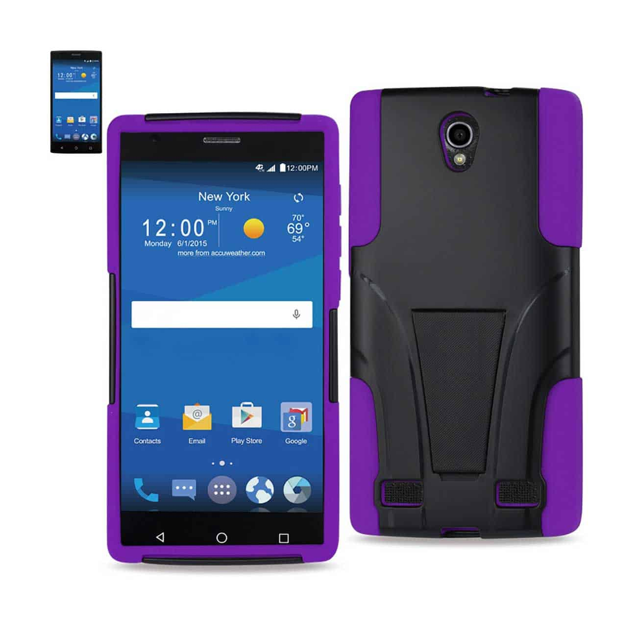 ZTE ZMAX 2 HYBRID HEAVY DUTY CASE WITH KICKSTAND IN PURPLE BLACK