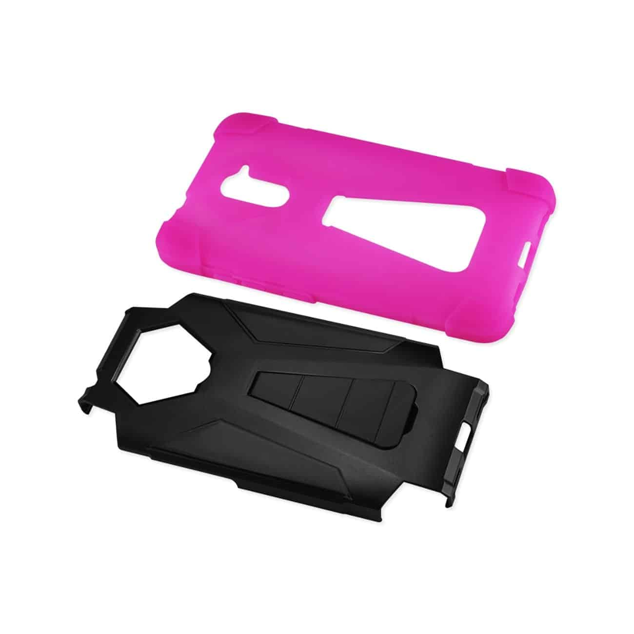 ZTE GRAND X MAX 2 HYBRID HEAVY DUTY CASE WITH KICKSTAND IN HOT PINK BLACK