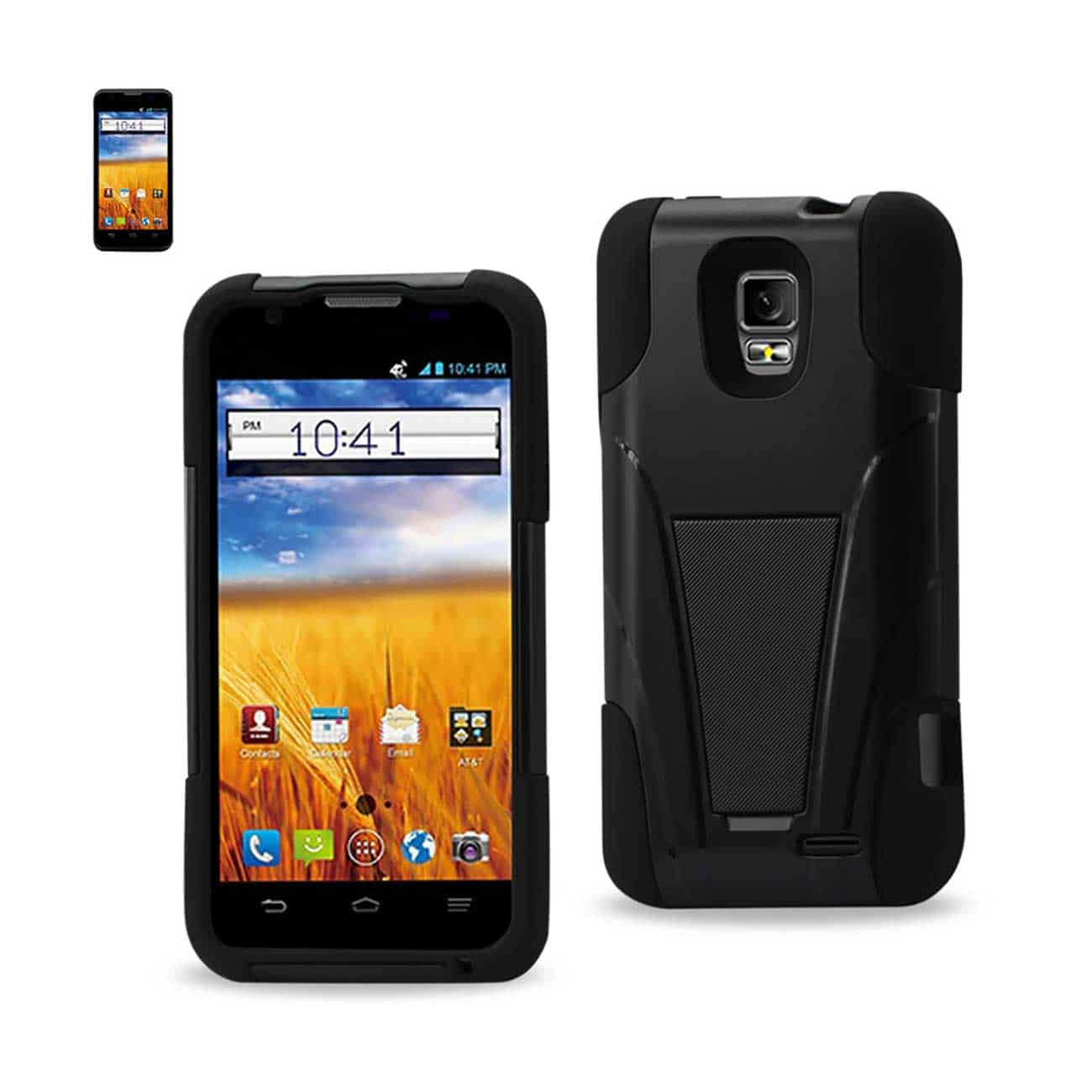 ZTE Z998 HYBRID HEAVY DUTY CASE WITH KICKSTAND IN BLACK