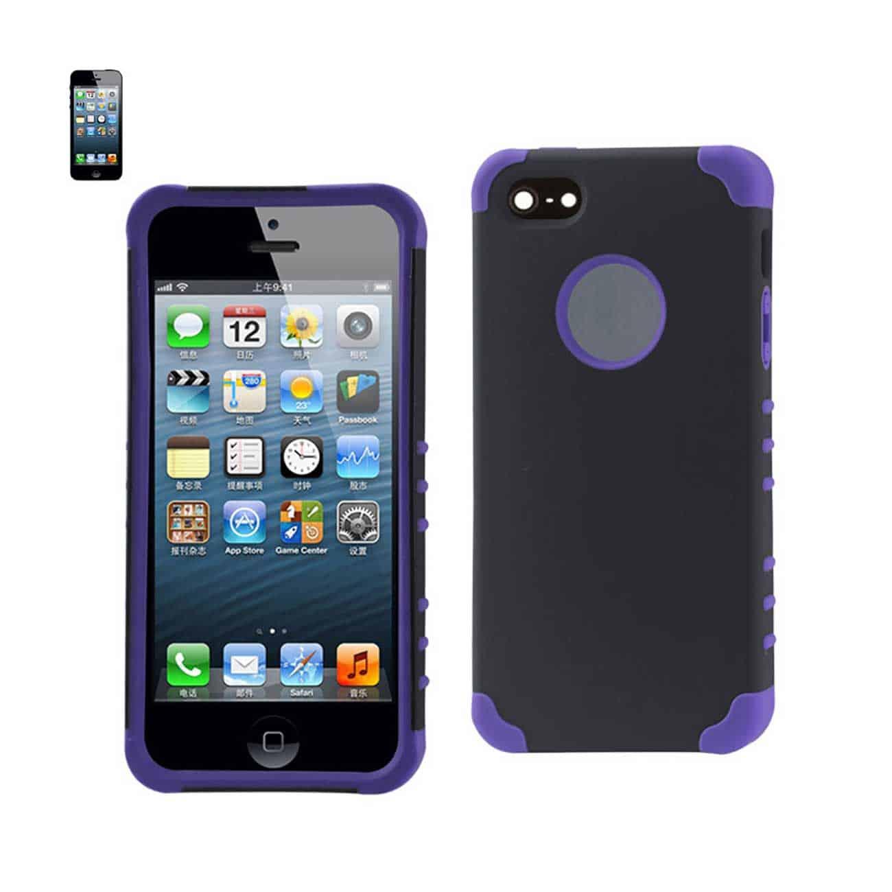IPHONE 5/5S/SE HYBRID HEAVY DUTY CASE IN BLACK PURPLE