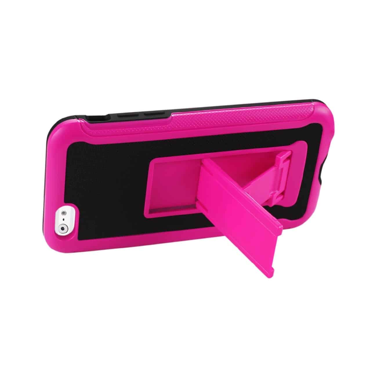 IPHONE 6 PLUS HYBRID HEAVY DUTY CASE WITH VERTICAL KICKSTAND IN BLACK HOT PINK