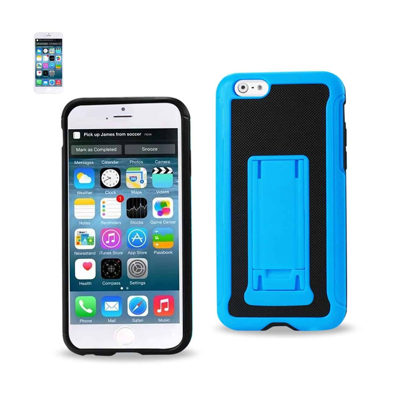 IPHONE 6 PLUS HYBRID HEAVY DUTY CASE WITH VERTICAL KICKSTAND IN BLACK NAVY