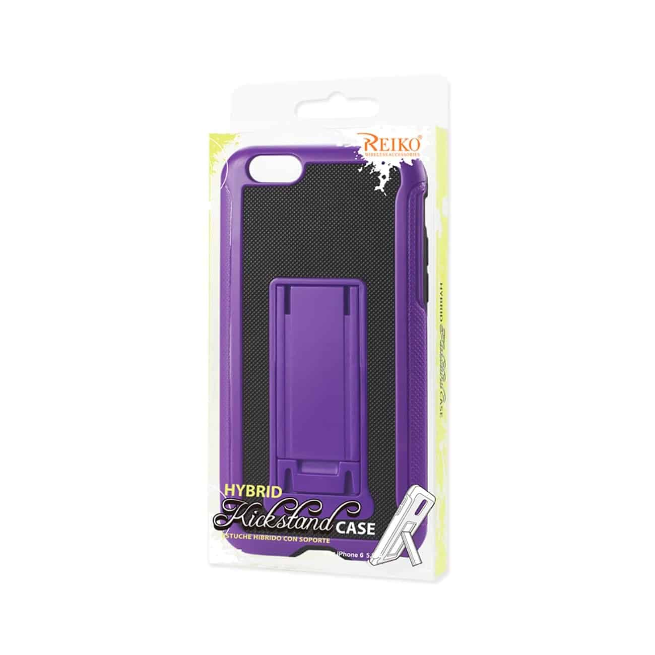 IPHONE 6 PLUS HYBRID HEAVY DUTY CASE WITH VERTICAL KICKSTAND IN BLACK PURPLE