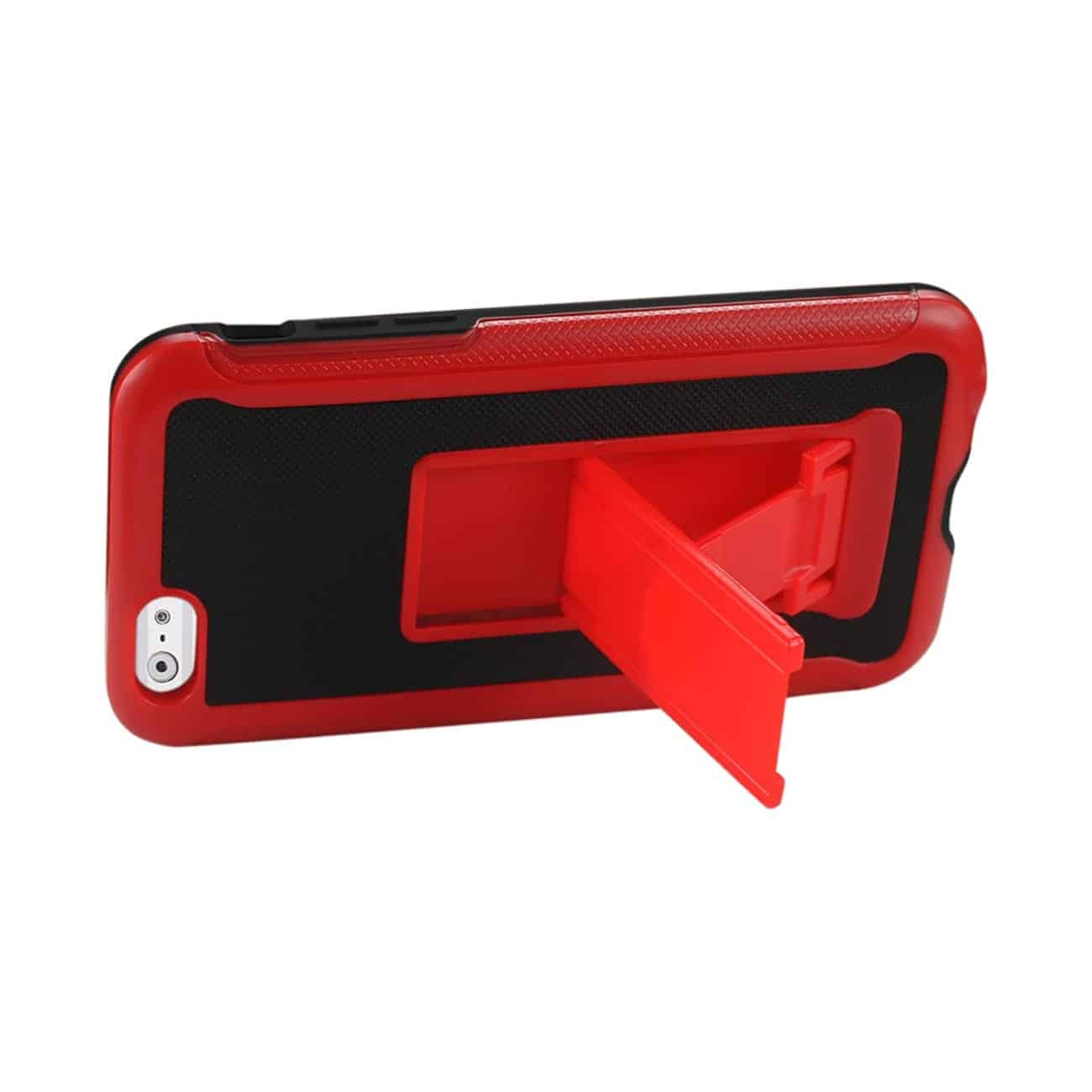 IPHONE 6 PLUS HYBRID HEAVY DUTY CASE WITH VERTICAL KICKSTAND IN BLACK RED