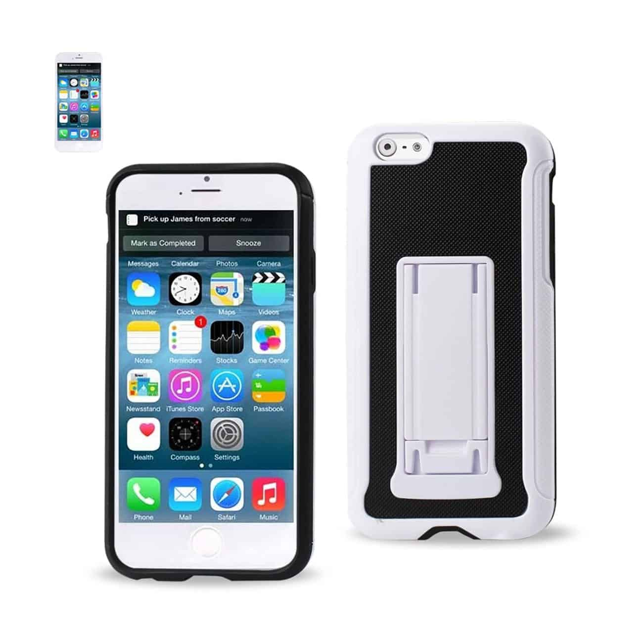 IPHONE 6 PLUS HYBRID HEAVY DUTY CASE WITH VERTICAL KICKSTAND IN BLACK WHITE
