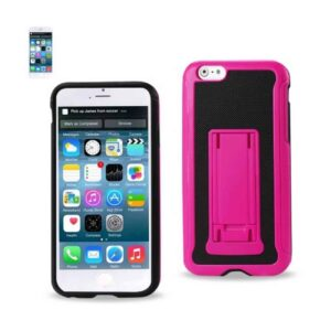 IPHONE 6 HYBRID HEAVY DUTY CASE WITH VERTICAL KICKSTAND IN BLACK HOT PINK