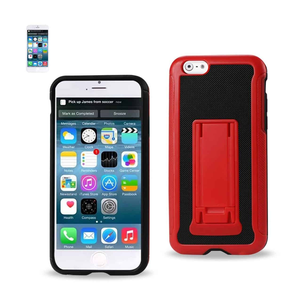 IPHONE 6 HYBRID HEAVY DUTY CASE WITH VERTICAL KICKSTAND IN BLACK RED