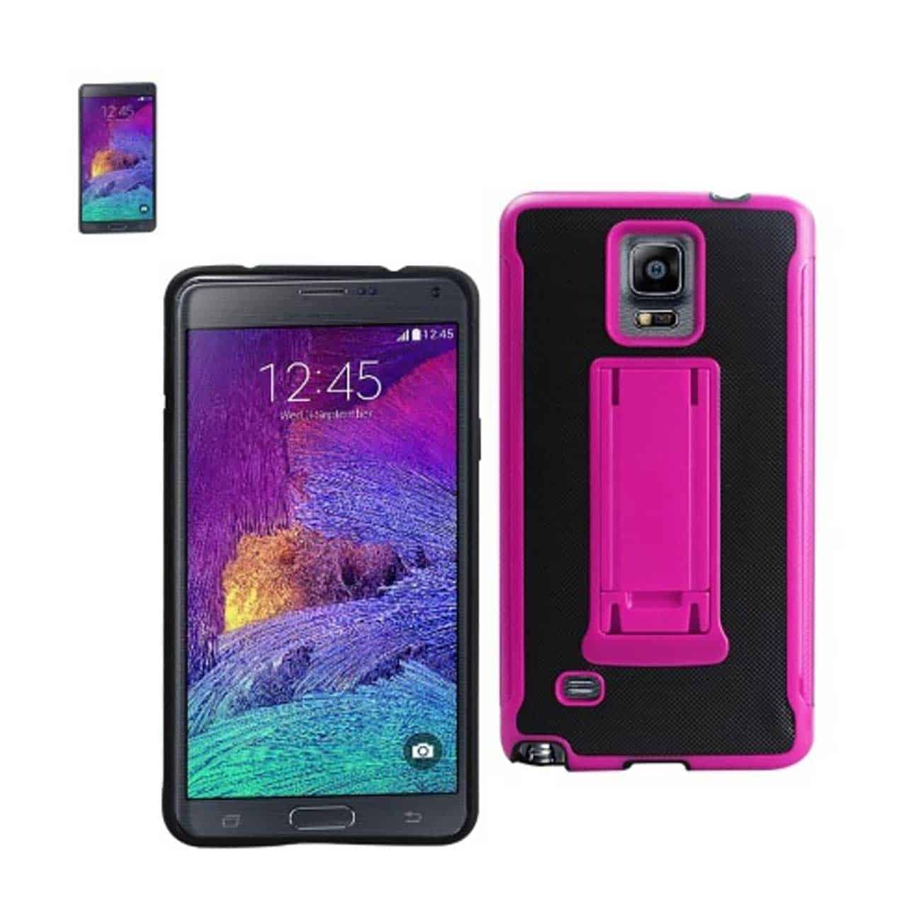 SAMSUNG GALAXY NOTE 4 HYBRID HEAVY DUTY CASE WITH VERTICAL KICKSTAND IN BLACK HOT PINK