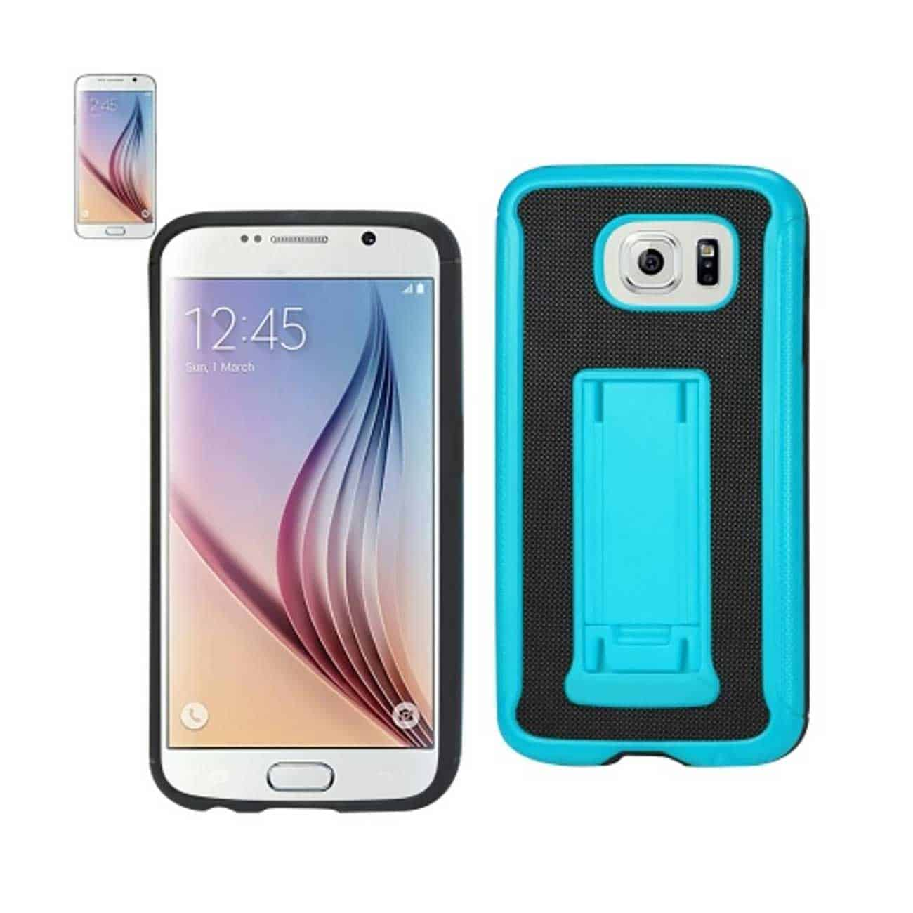 SAMSUNG GALAXY S6 HYBRID HEAVY DUTY CASE WITH VERTICAL KICKSTAND IN BLACK NAVY