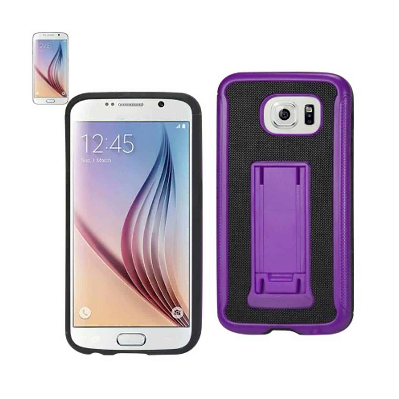 SAMSUNG GALAXY S6 HYBRID HEAVY DUTY CASE WITH VERTICAL KICKSTAND IN BLACK PURPLE