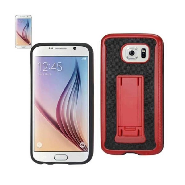 SAMSUNG GALAXY S6 HYBRID HEAVY DUTY CASE WITH VERTICAL KICKSTAND IN BLACK RED