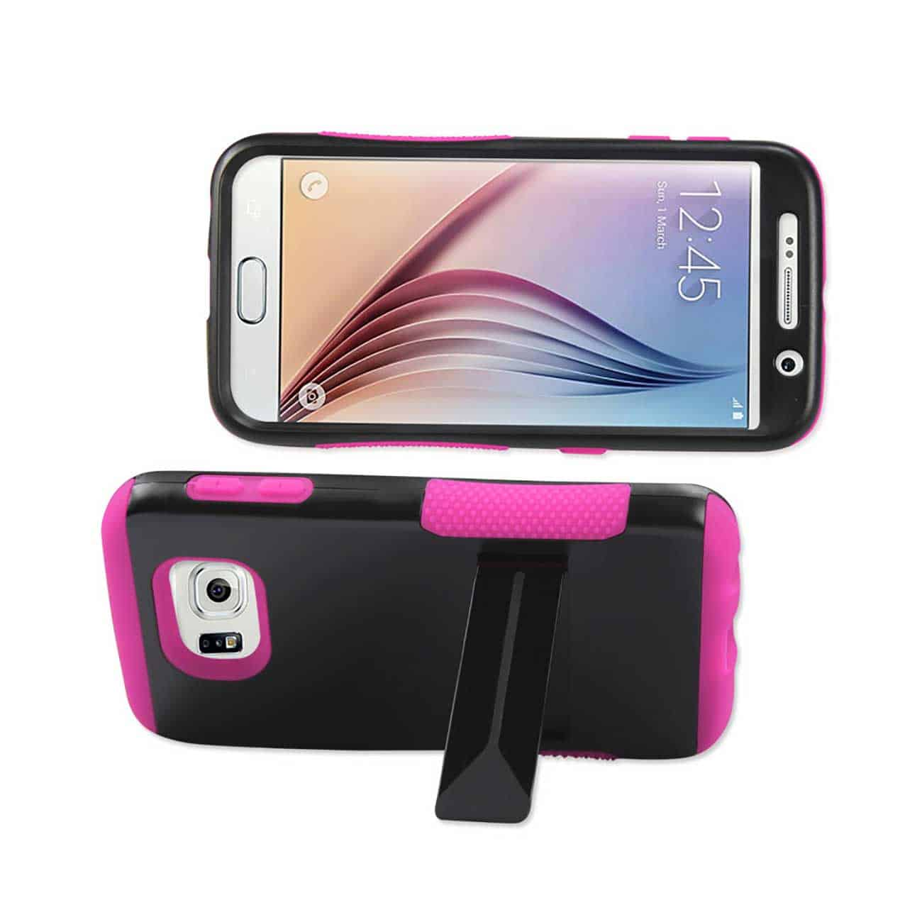 SAMSUNG GALAXY S6 HYBRID HEAVY DUTY GRIP CASE WITH LOWER KICKSTAND IN HOT PINK BLACK