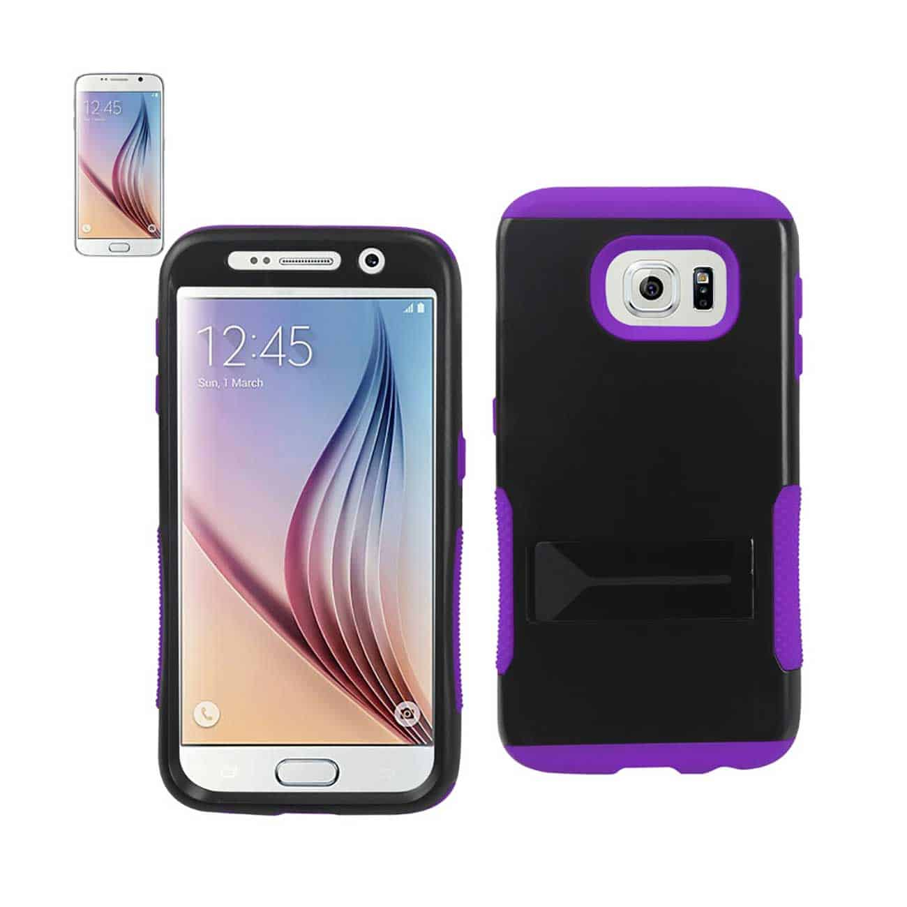 SAMSUNG GALAXY S6 HYBRID HEAVY DUTY GRIP CASE WITH LOWER KICKSTAND IN PURPLE BLACK