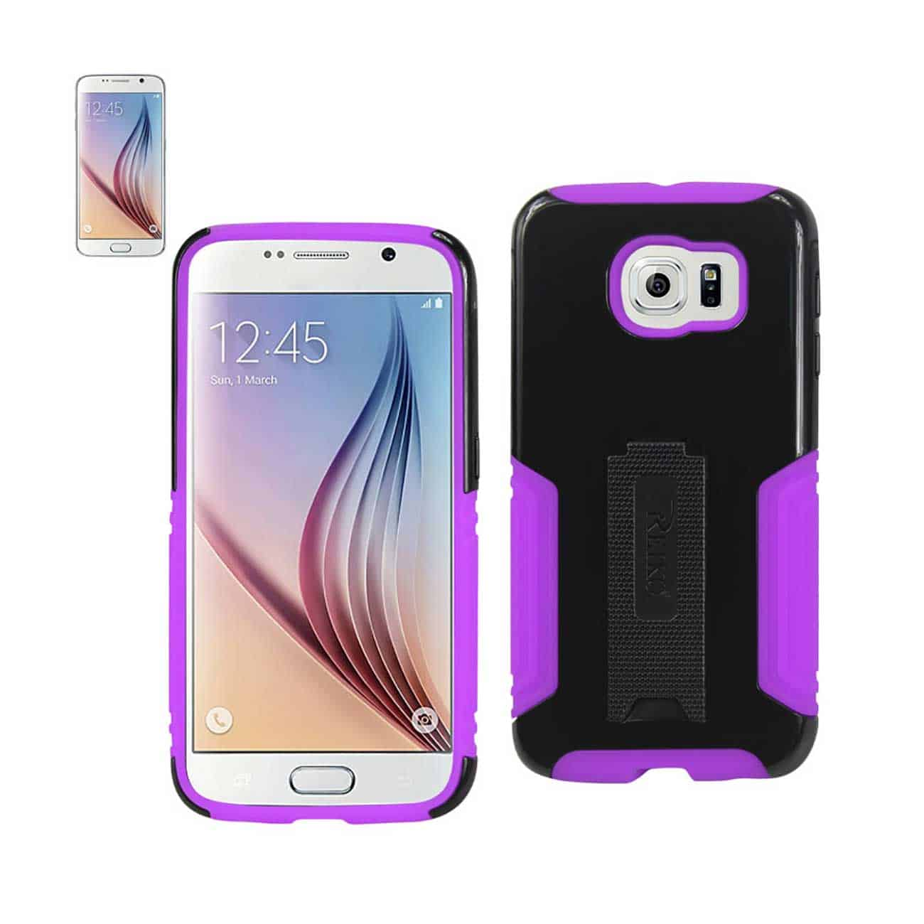 SAMSUNG GALAXY S6 HYBRID HEAVY DUTY CASE WITH LOWER KICKSTAND IN PURPLE BLACK