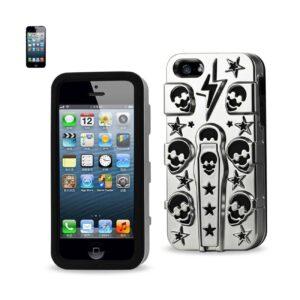 IPHONE SE/ 5S/ 5 HYBRID SKULLS CASE WITH KICKSTAND IN BLACK