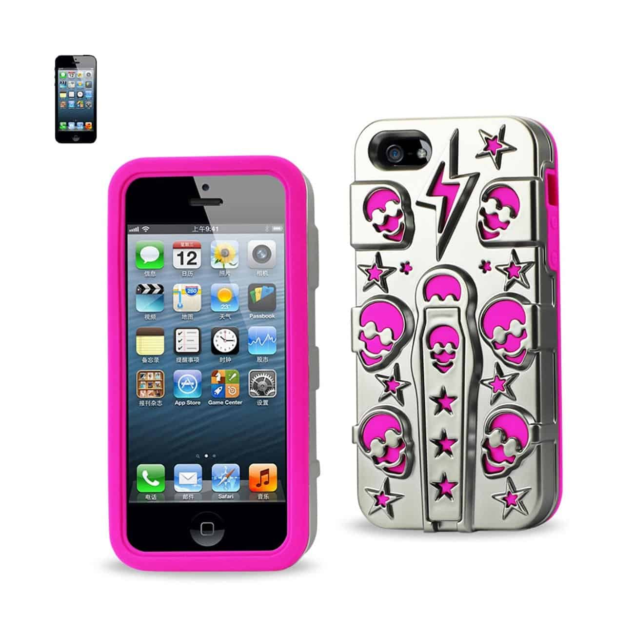 IPHONE SE/ 5S/ 5 HYBRID SKULLS CASE WITH KICKSTAND IN HOT PINK