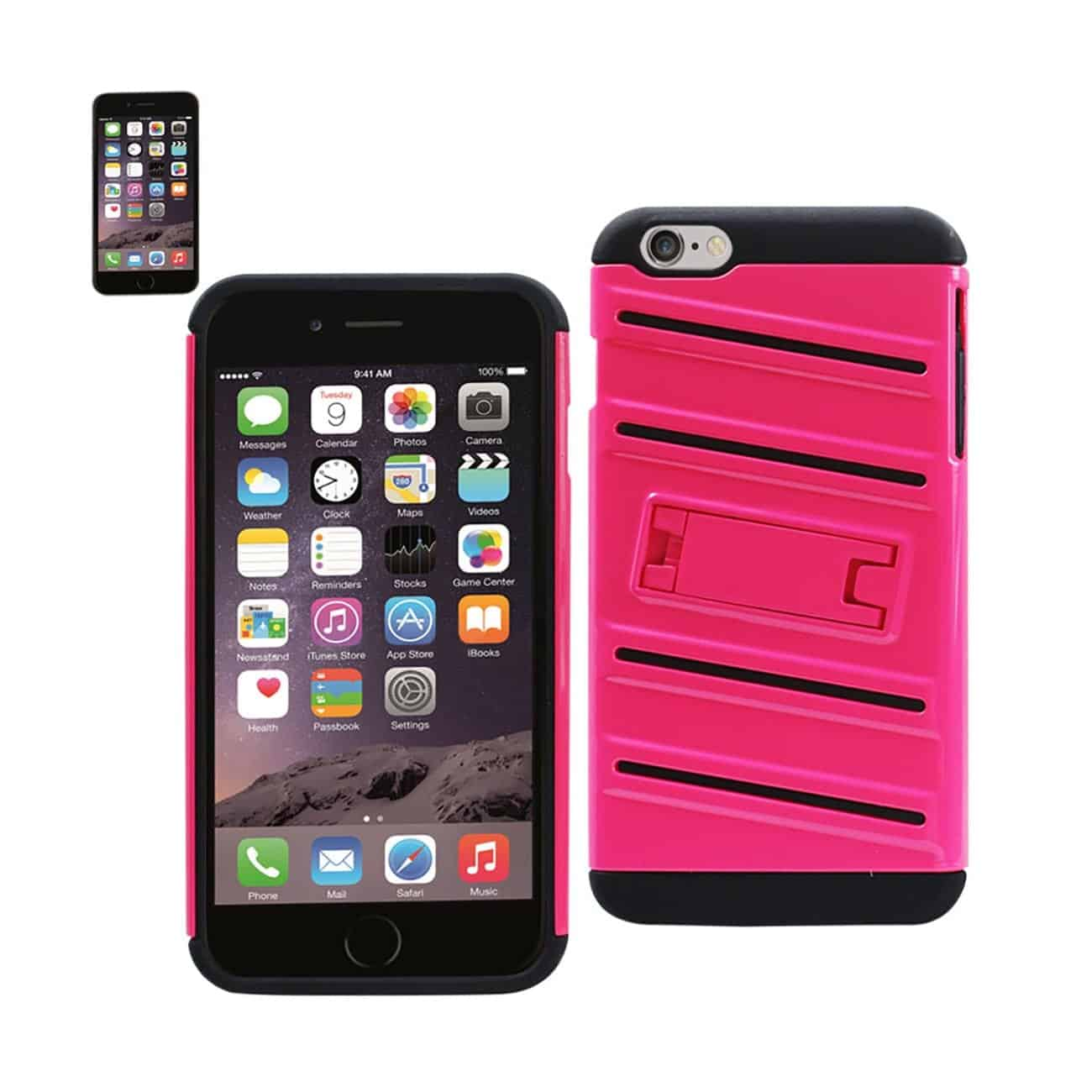 IPHONE 6 PLUS HYBRID FISHBONE CASE WITH KICKSTAND IN BLACK HOT PINK