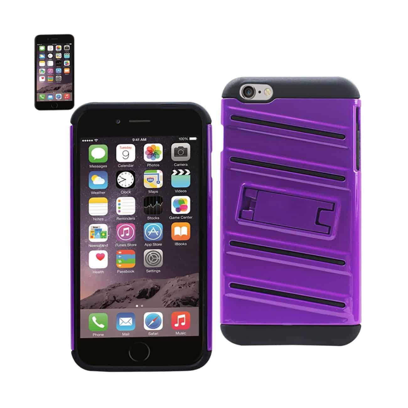 IPHONE 6 PLUS HYBRID FISHBONE CASE WITH KICKSTAND IN BLACK PURPLE