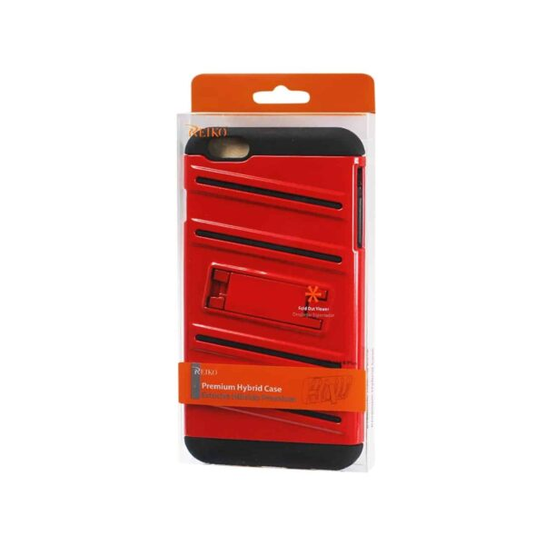 IPHONE 6 PLUS HYBRID FISHBONE CASE WITH KICKSTAND IN BLACK RED