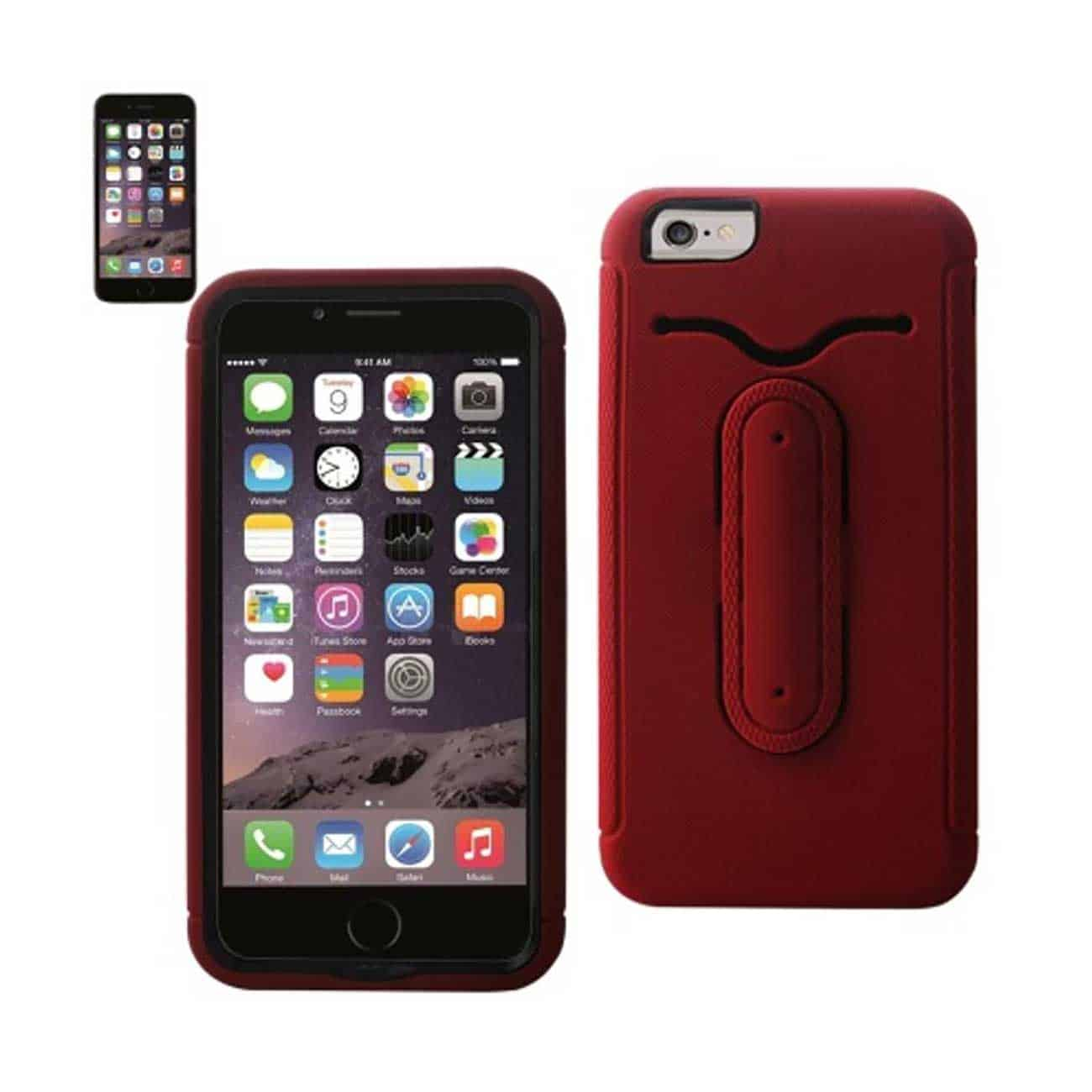 IPHONE 6 PLUS HYBRID HEAVY DUTY CASE WITH BENDING KICKSTAND IN RED