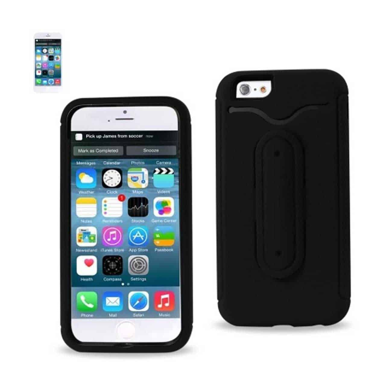 IPHONE 6 HYBRID HEAVY DUTY CASE WITH BENDING KICKSTAND IN BLACK
