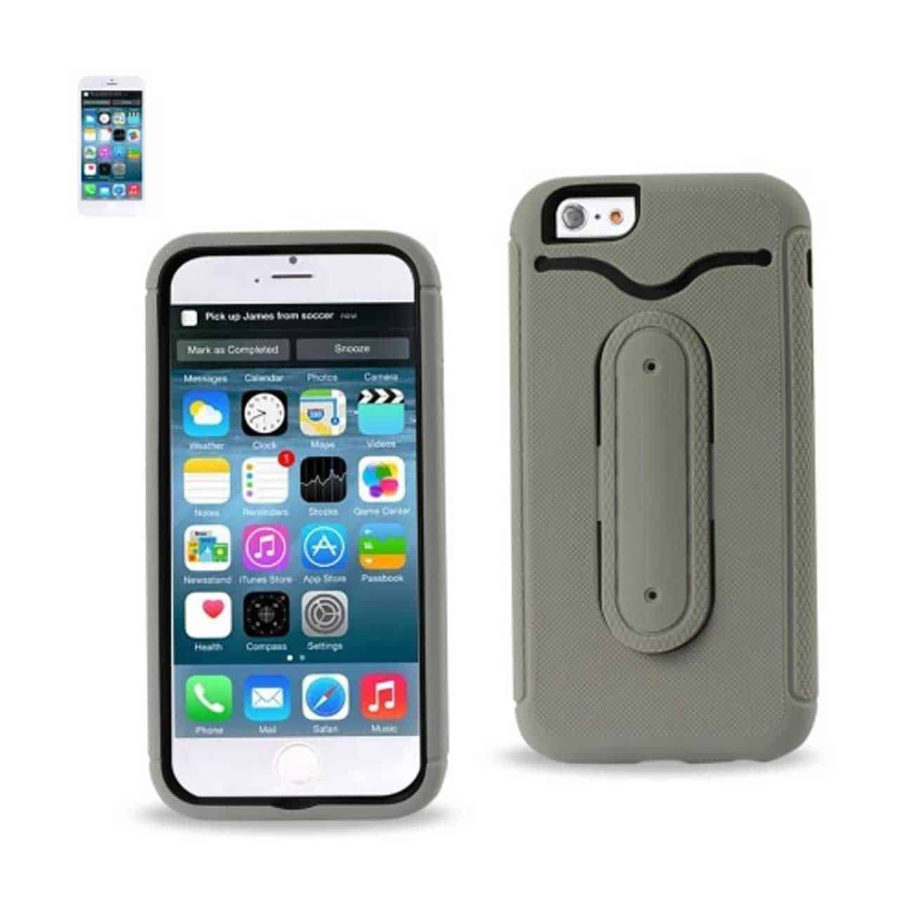 IPHONE 6 HYBRID HEAVY DUTY CASE WITH BENDING KICKSTAND IN GRAY