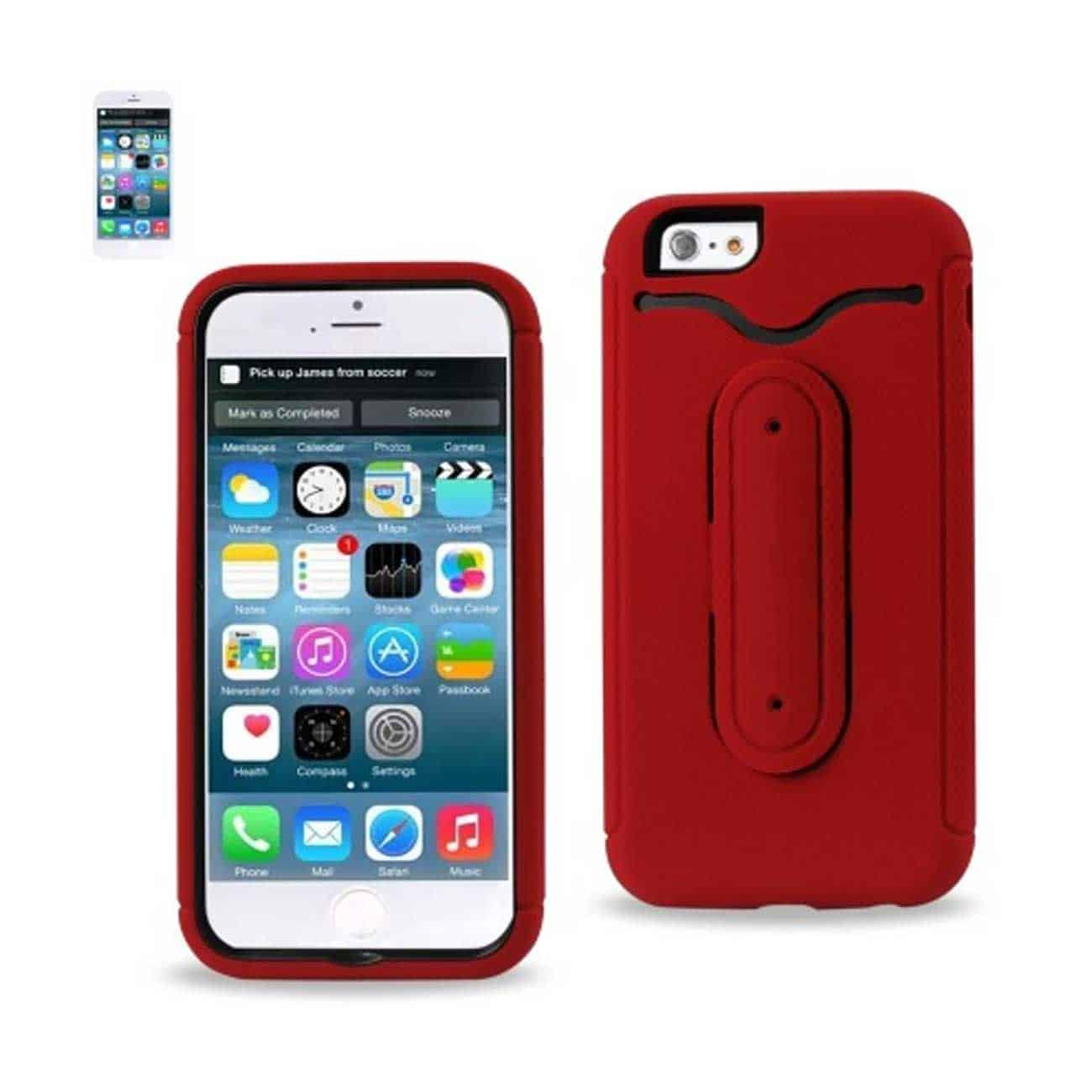IPHONE 6 HYBRID HEAVY DUTY CASE WITH BENDING KICKSTAND IN RED