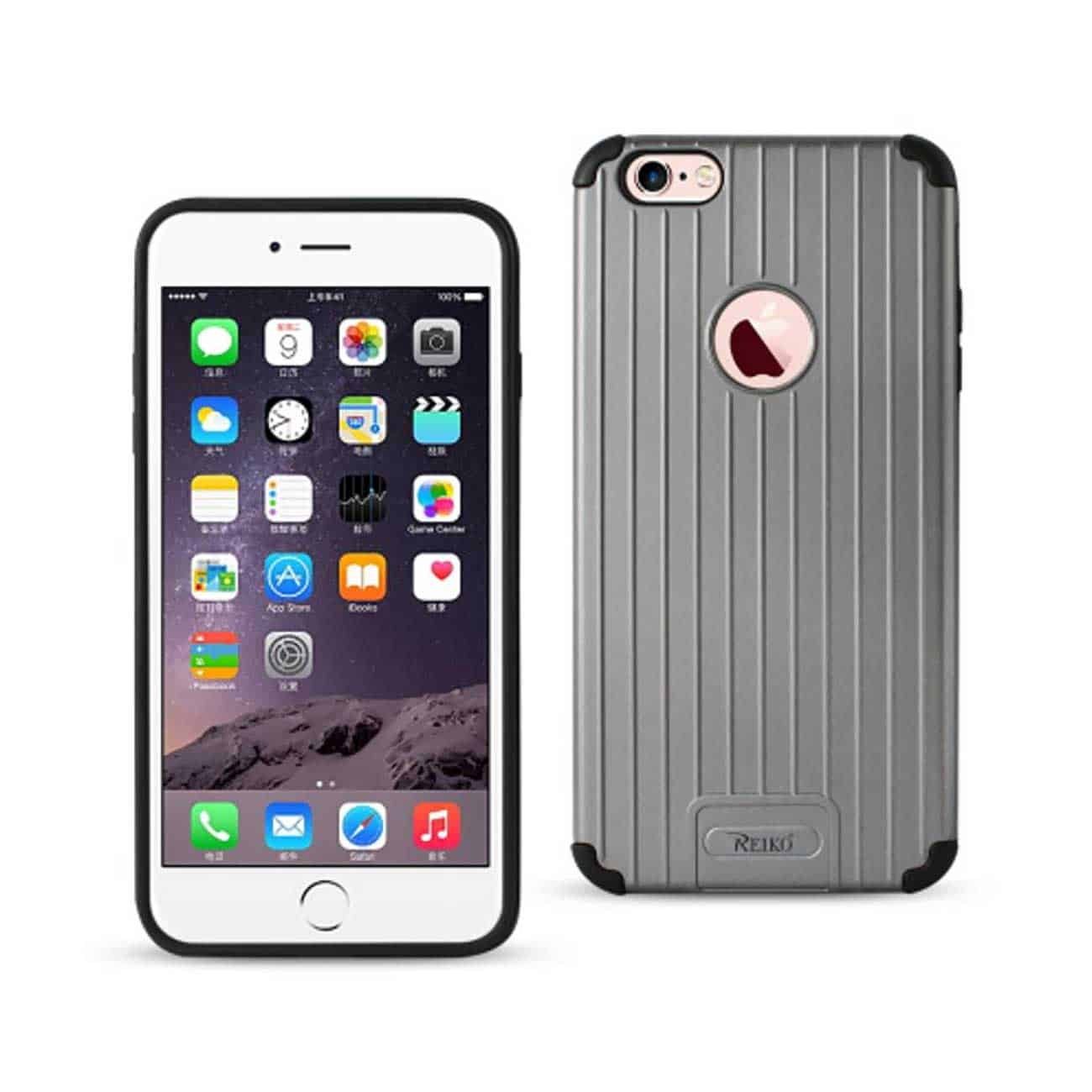 IPHONE 6 PLUS/ 6S PLUS RUGGED METAL TEXTURE HYBRID CASE WITH RIDGED BACK IN BLACK GRAY
