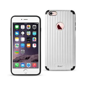 IPHONE 6 PLUS/ 6S PLUS RUGGED METAL TEXTURE HYBRID CASE WITH RIDGED BACK IN BLACK SILVER