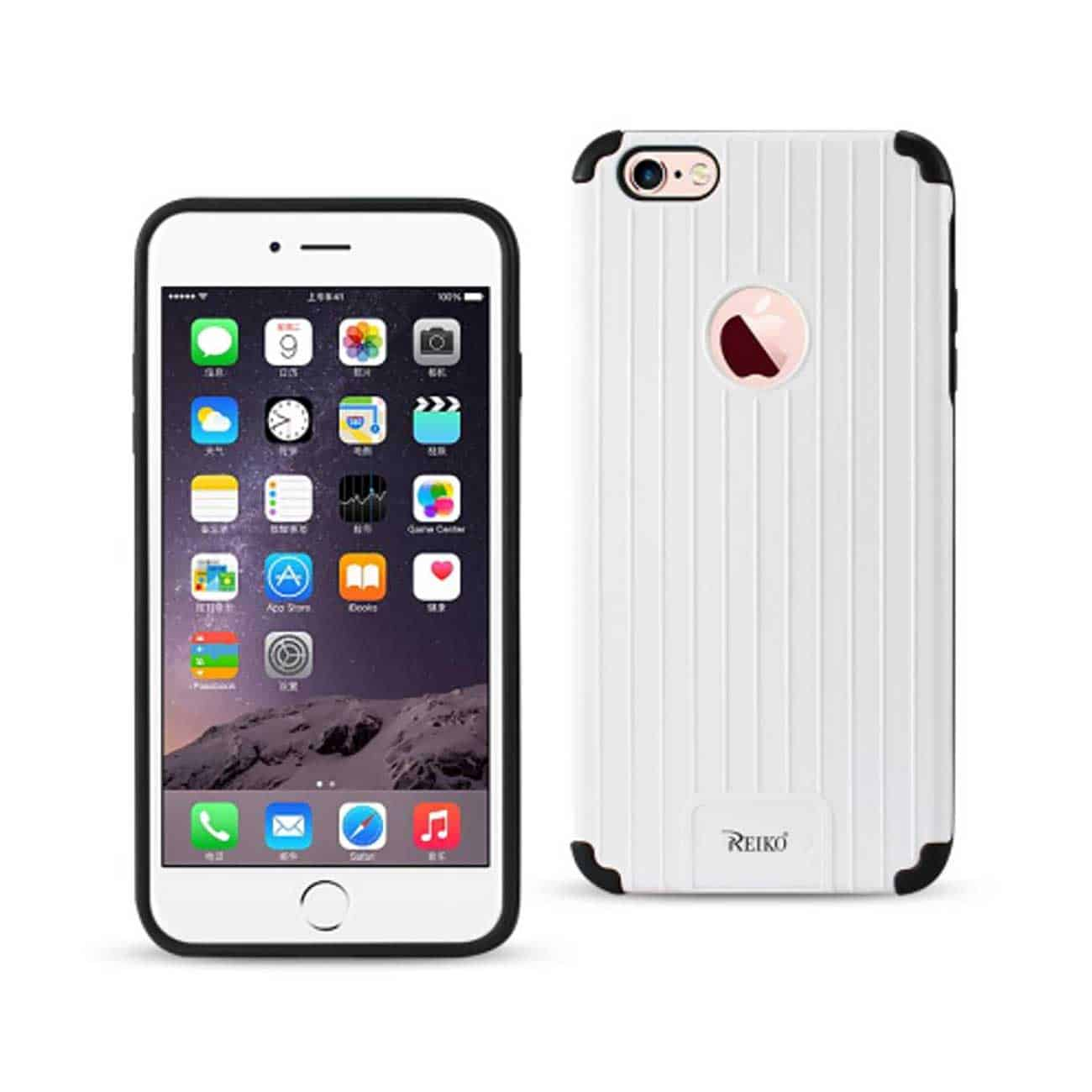 IPHONE 6 PLUS/ 6S PLUS RUGGED METAL TEXTURE HYBRID CASE WITH RIDGED BACK IN BLACK WHITE