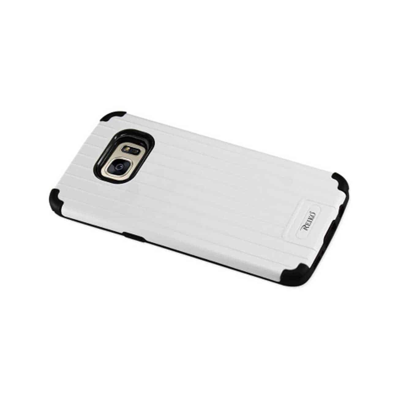 SAMSUNG GALAXY S7 EDGE RUGGED METAL TEXTURE HYBRID CASE WITH RIDGED BACK IN BLACK WHITE