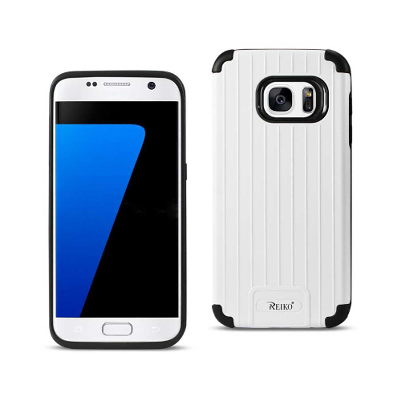 SAMSUNG GALAXY S7 RUGGED METAL TEXTURE HYBRID CASE WITH RIDGED BACK IN BLACK WHITE