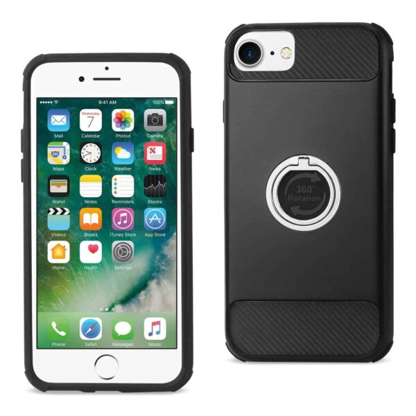 IPHONE 7/ 6/ 6S HYBRID CASE WITH 360 DEGREE ROTATING RING STAND HOLDER IN BLACK