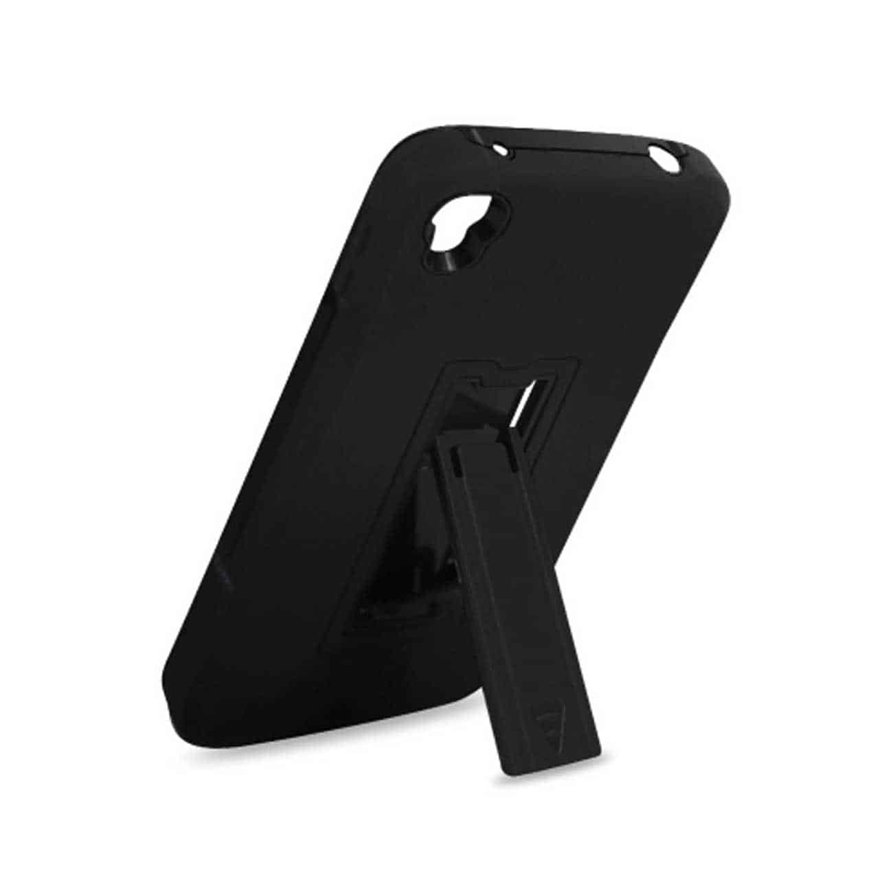 ALCATEL ONE TOUCH IDOL 3 HYBRID HEAVY DUTY 3 PIECES CASE WITH KICKSTAND IN BLACK
