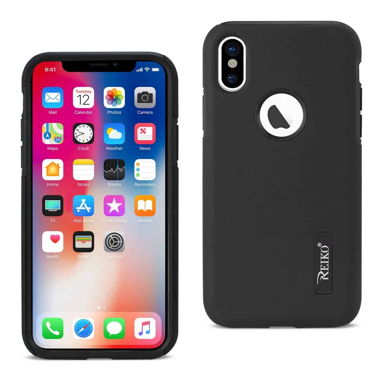 IPHONE X SOLID ARMOR DUAL LAYER PROTECTIVE CASE IN BLACK