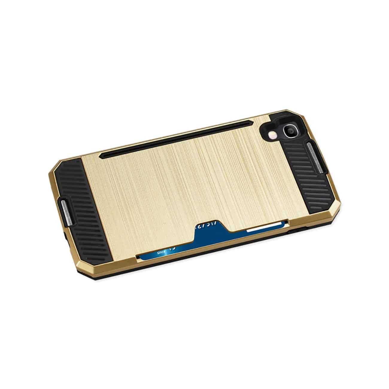 ALCATEL ONE TOUCH IDOL 4 SLIM ARMOR HYBRID CASE WITH CARD HOLDER IN GOLD