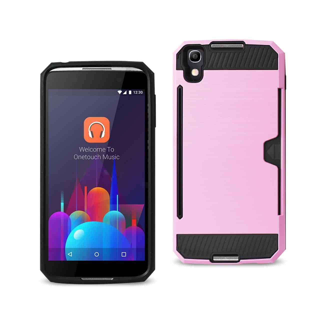 ALCATEL ONE TOUCH IDOL 4 SLIM ARMOR HYBRID CASE WITH CARD HOLDER IN PINK