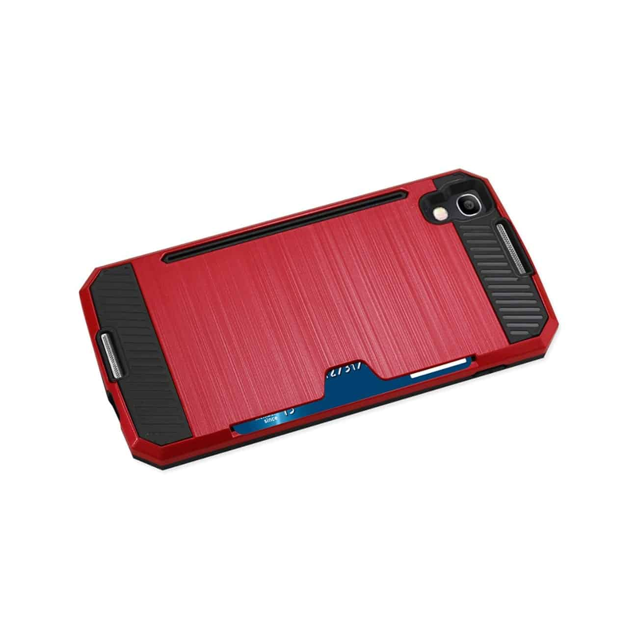 ALCATEL ONE TOUCH IDOL 4 SLIM ARMOR HYBRID CASE WITH CARD HOLDER IN RED