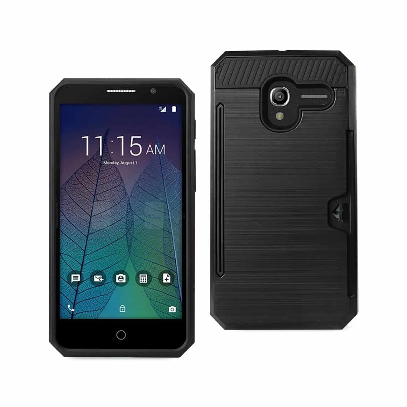 ALCATEL TRU SLIM ARMOR HYBRID CASE WITH CARD HOLDER IN BLACK