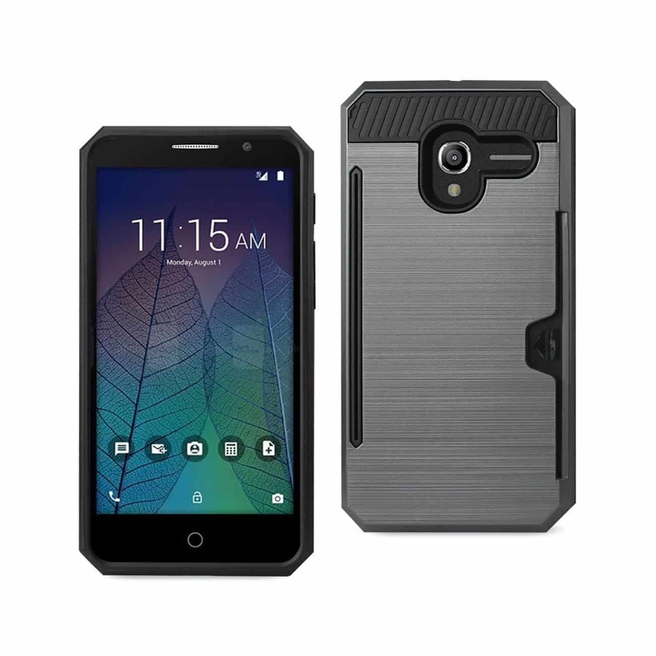 ALCATEL TRU SLIM ARMOR HYBRID CASE WITH CARD HOLDER IN GRAY